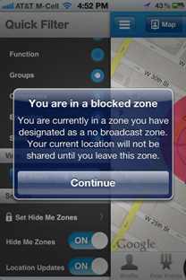 Block location sharing in private zones