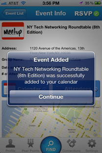 Add Meetup events to iPhone calendar